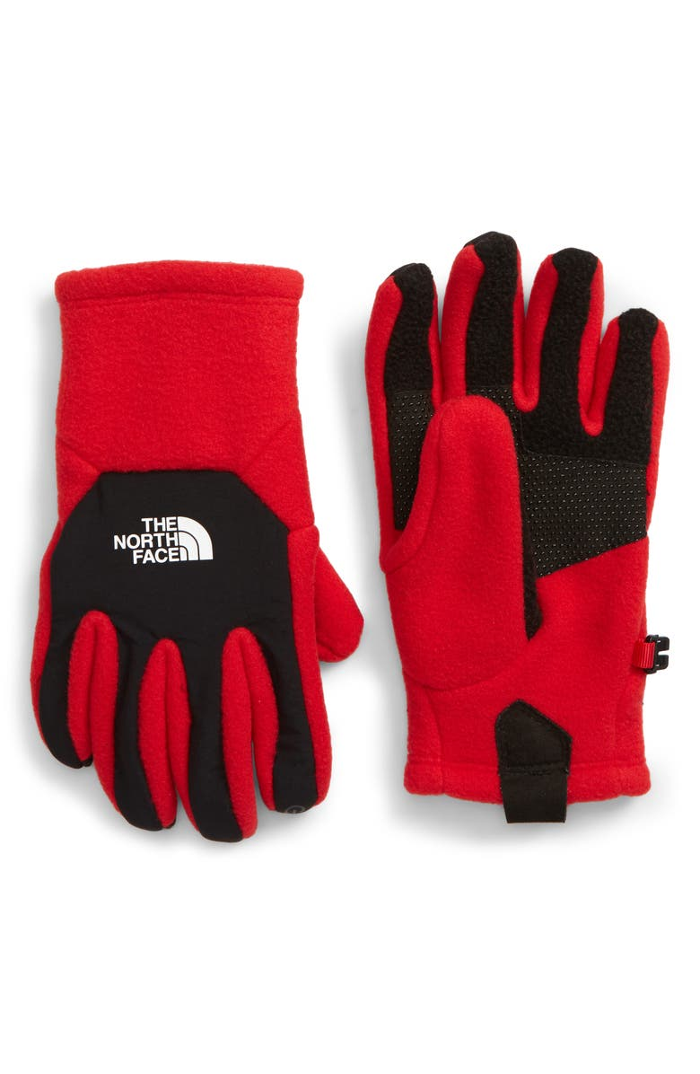 THE NORTH FACE Denali Etip Gloves, Main, color, TNF RED