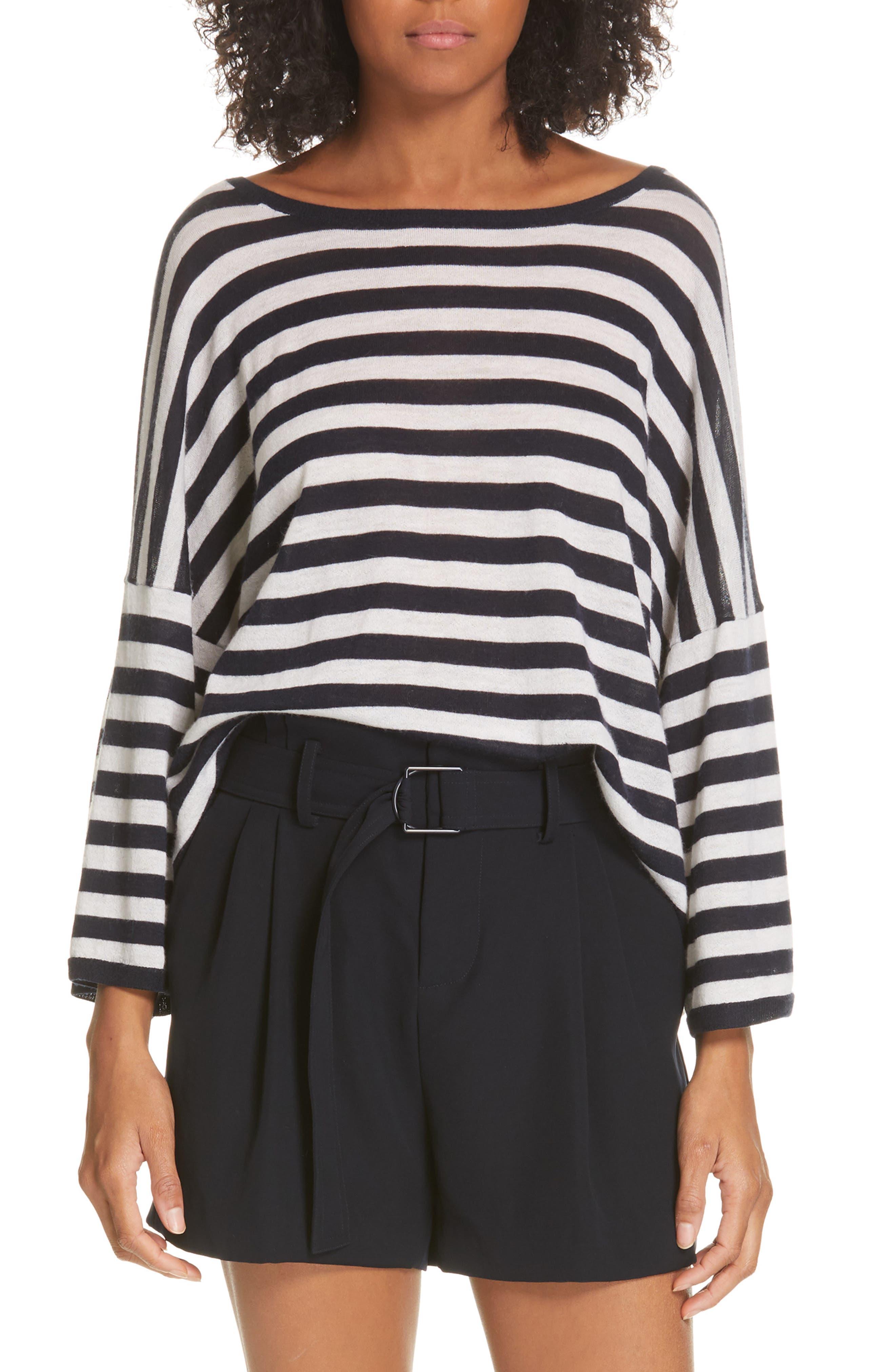 Stripe Boxy Wool & Cashmere Sweater, Main, color, COASTAL/ CREAM