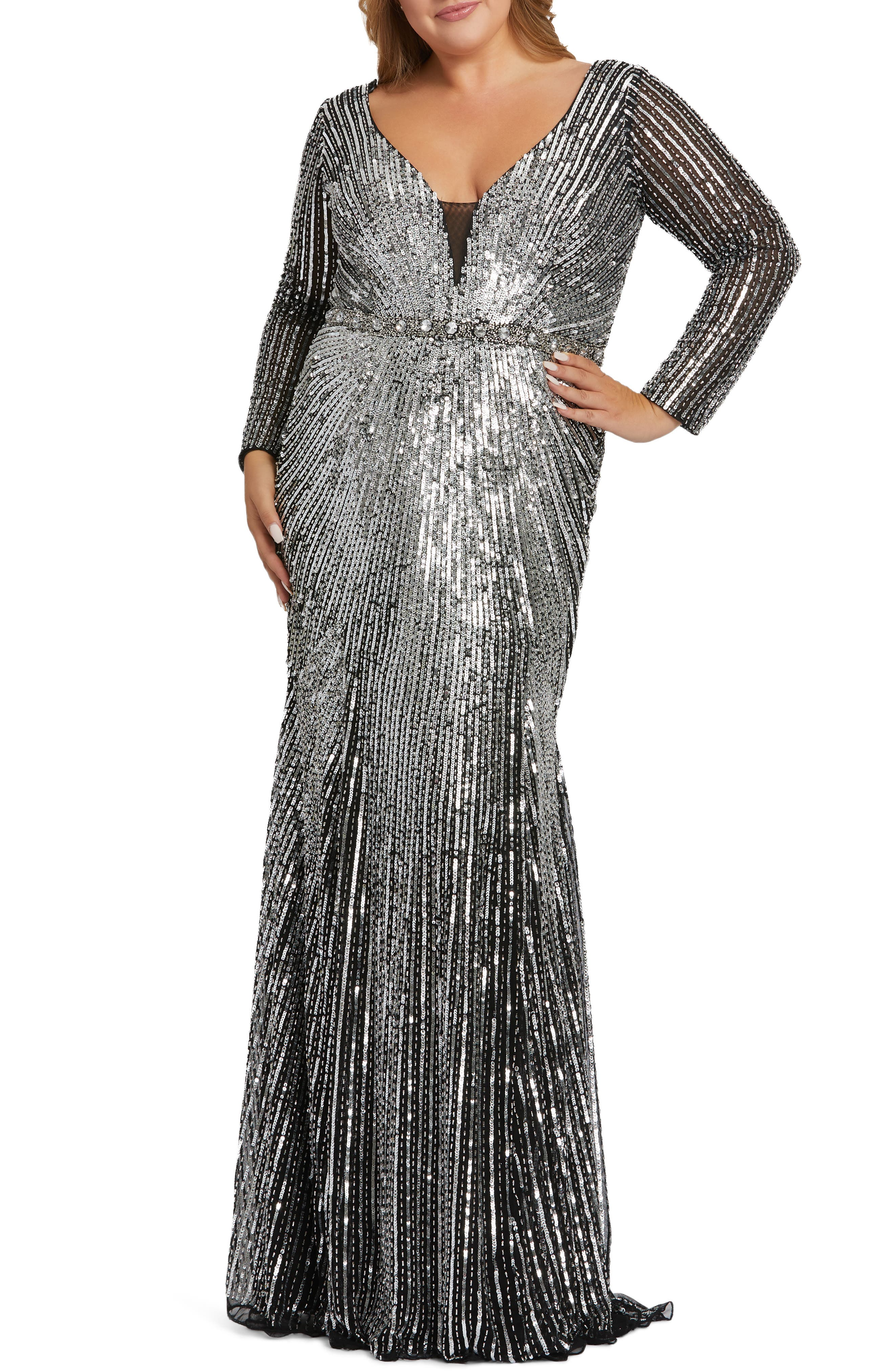 70s Dresses – Disco Dress, Hippie Dress, Wrap Dress Plus Size Womens MAC Duggal Starburst Sequin Long Sleeve Trumpet Gown Size 26W - Metallic $598.00 AT vintagedancer.com