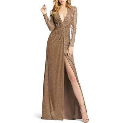 Ieena For MAC Duggal Twist Front Long Sleeve Metallic Gown, Brown
