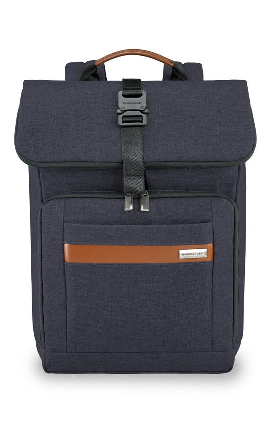 Briggs & Riley Medium Rfid Pocket Foldover Laptop Backpack In Navy