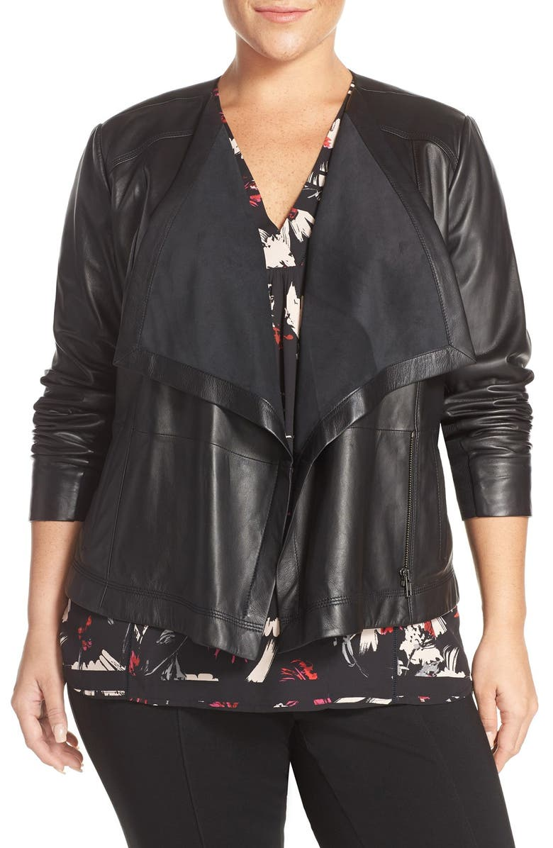 SEJOUR Drape Collar Leather Jacket, Main, color, 001
