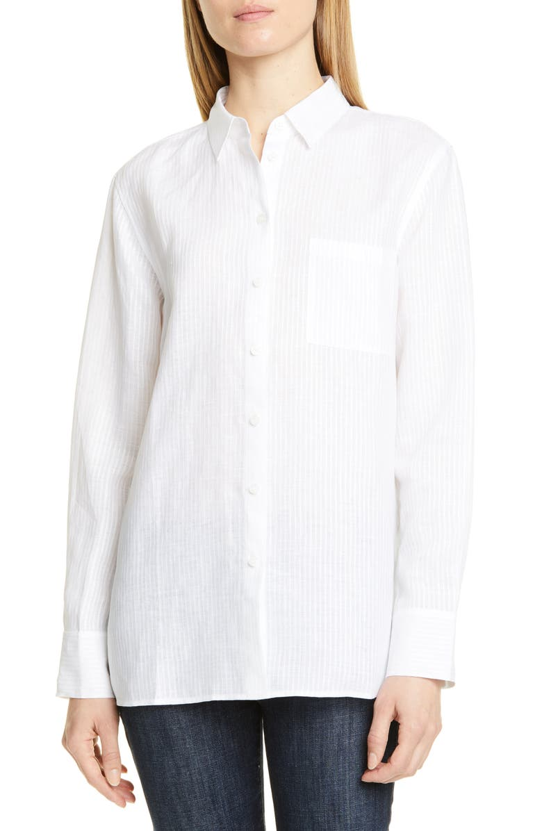 NORDSTROM SIGNATURE Stripe Linen Shirt, Main, color, 100