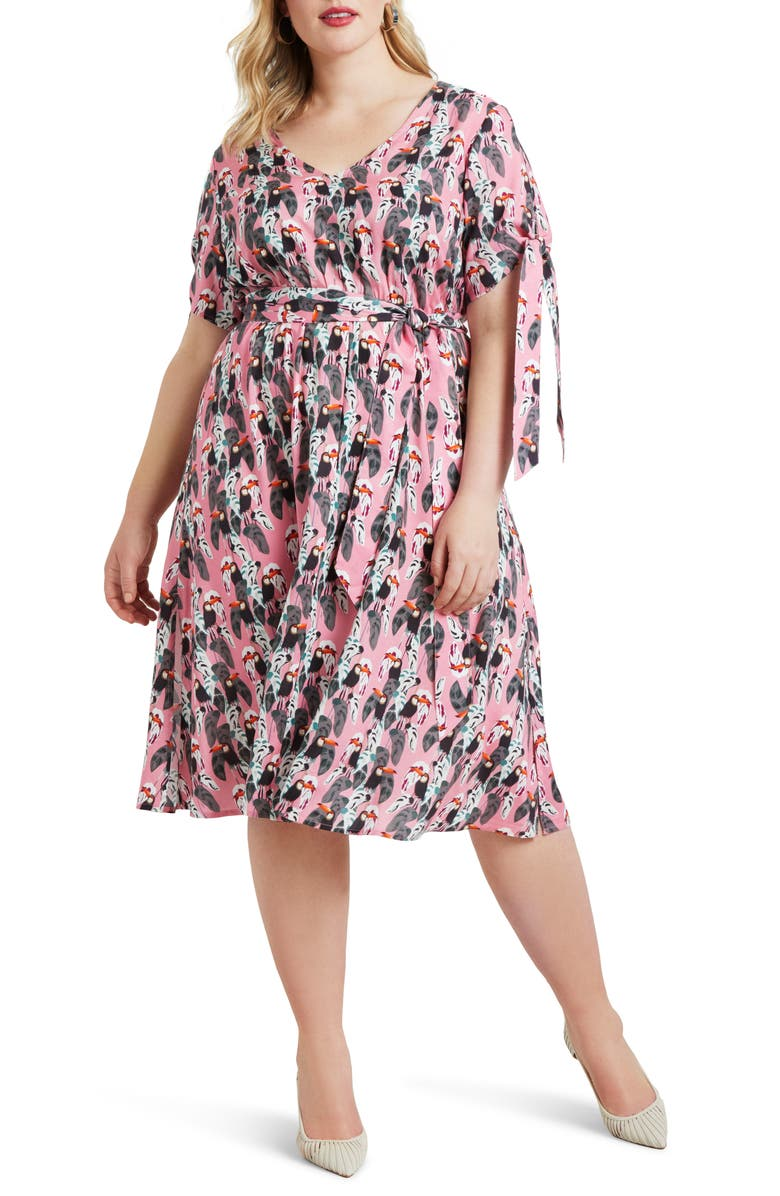 ELOQUII Toucan Print A-Line Dress, Main, color, TOUCAN-CAN