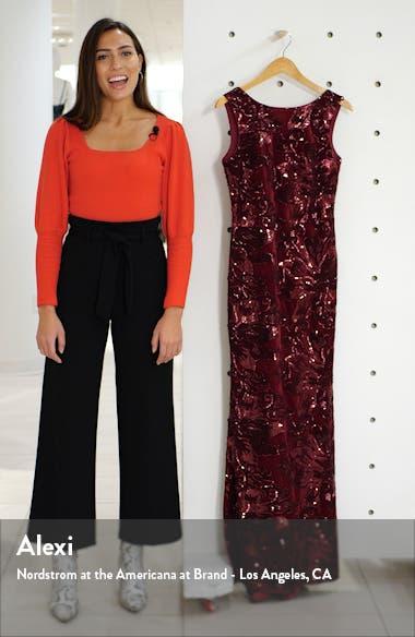 Sleeveless Velvet Embroidered Gown, sales video thumbnail