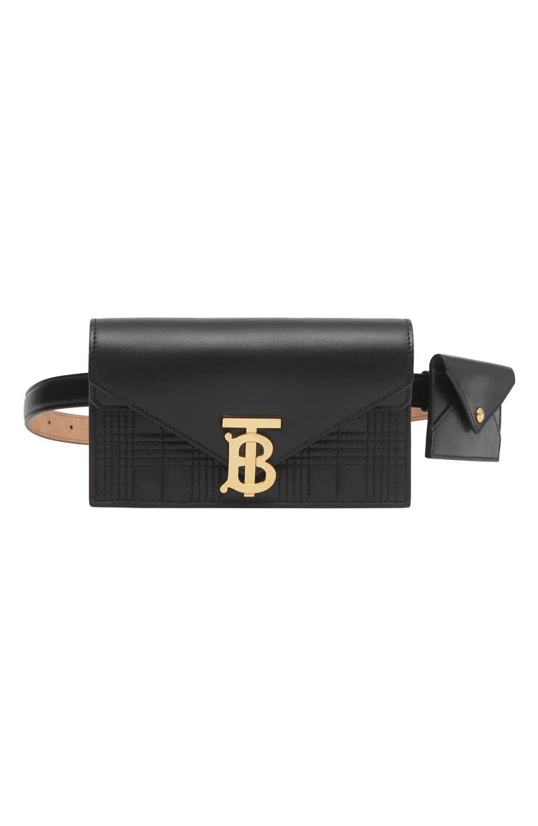 BURBERRY Quilted Wallet & Card Case Leather Belt Bag, Main, color, BLACK