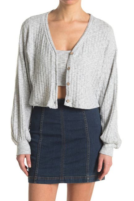 Image of Know One Cares Cropped Ribbed Knit Cardigan