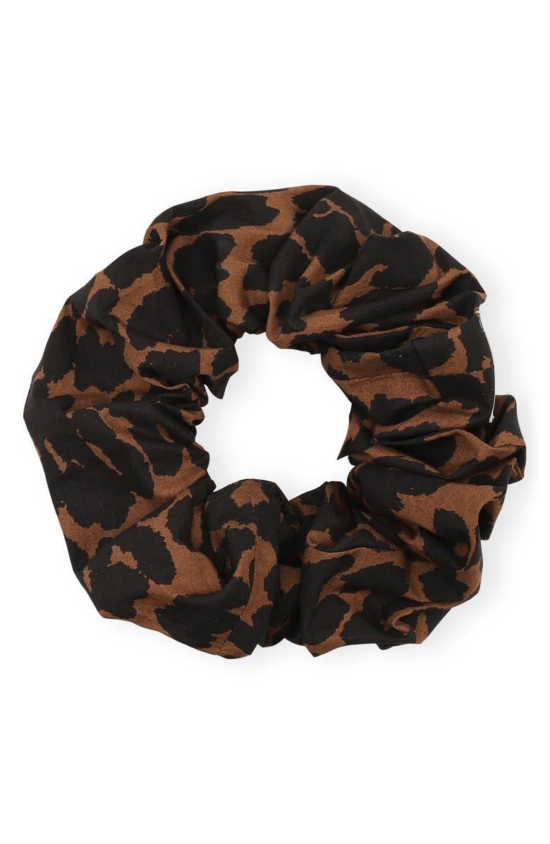 GANNI Pattern Poplin Scrunchie, Main, color, TOFFEE