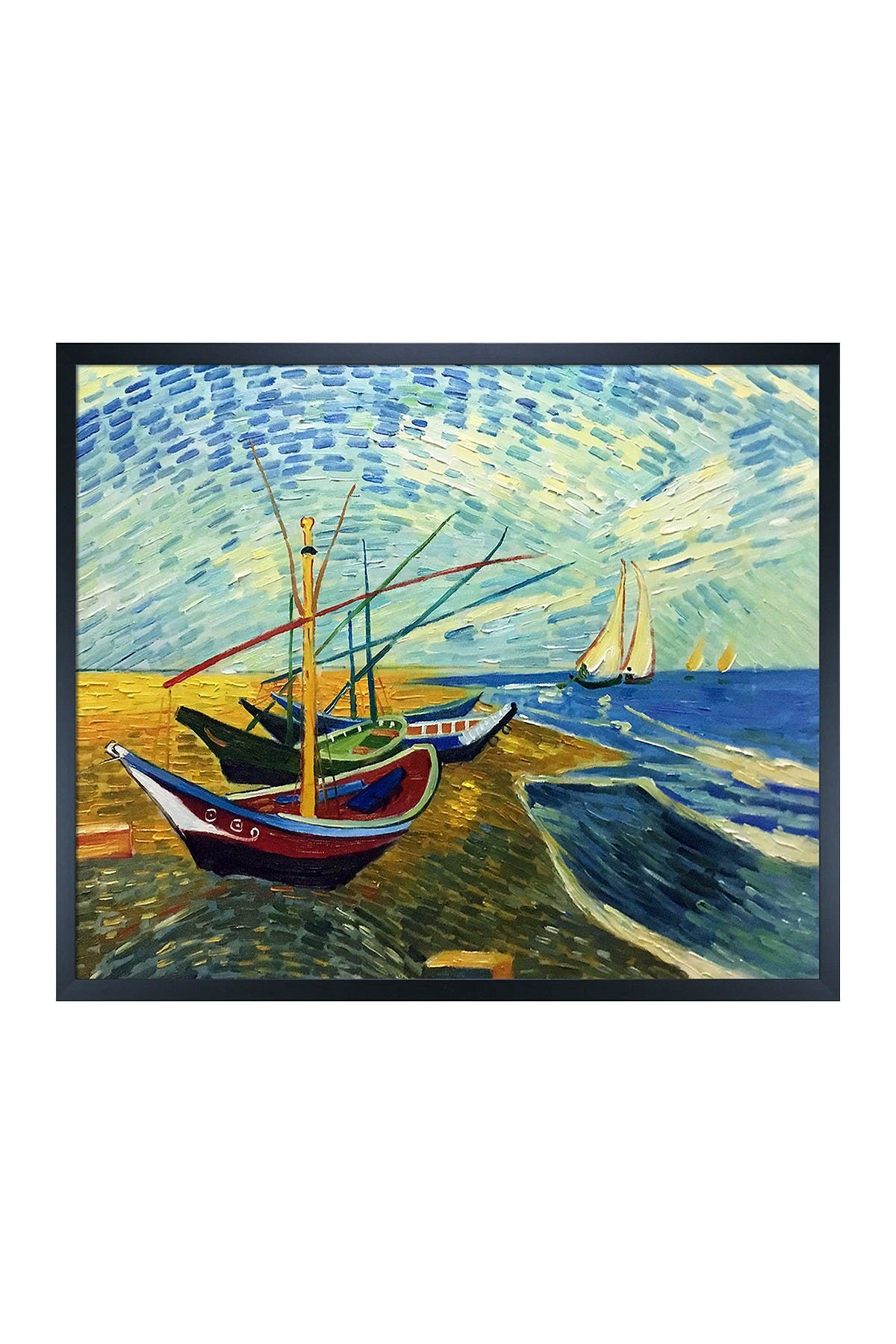 Overstock Art Fishing Boats on the Beach at Saintes-Maries with Studio Black Wood Frame, 21.5\\\