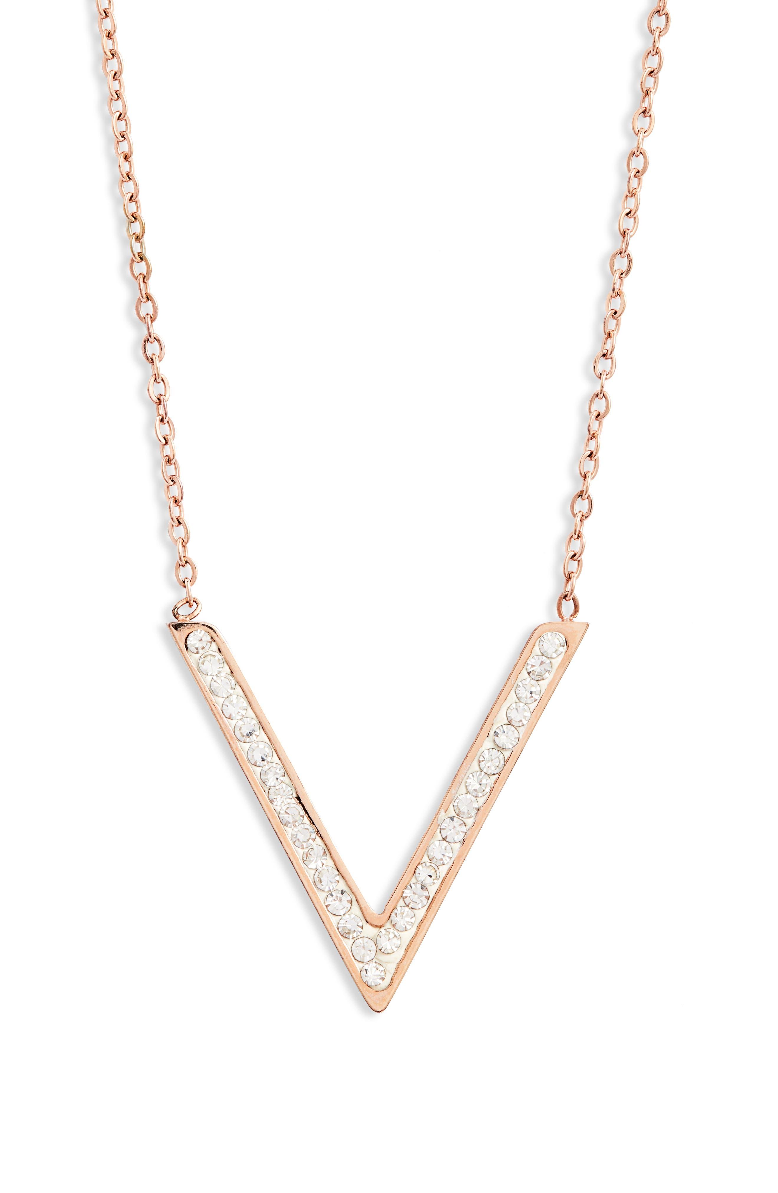 Pave V Charm Necklace