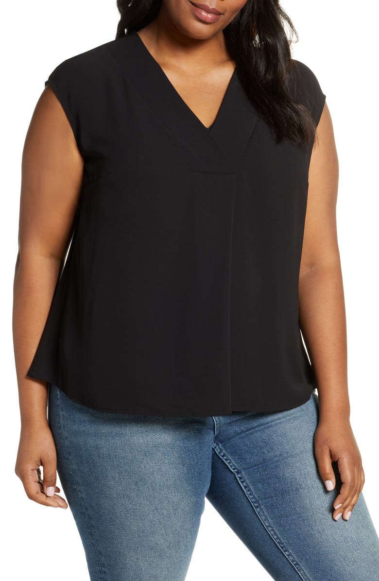 VINCE CAMUTO Mix Media Sleeveless Top, Main, color, RICH BLACK