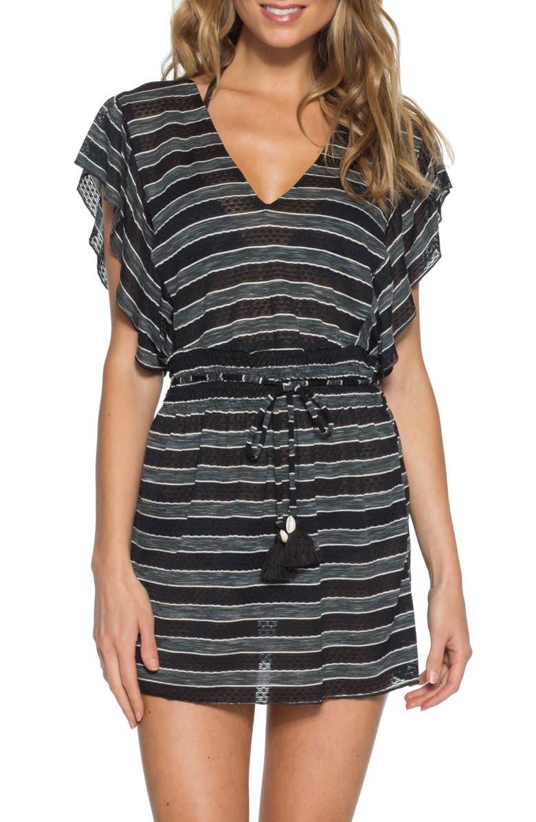 BECCA Beach Stripe Cover-Up Dress, Main, color, 001