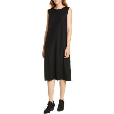 Petite Eileen Fisher Wool Lantern Dress, Black
