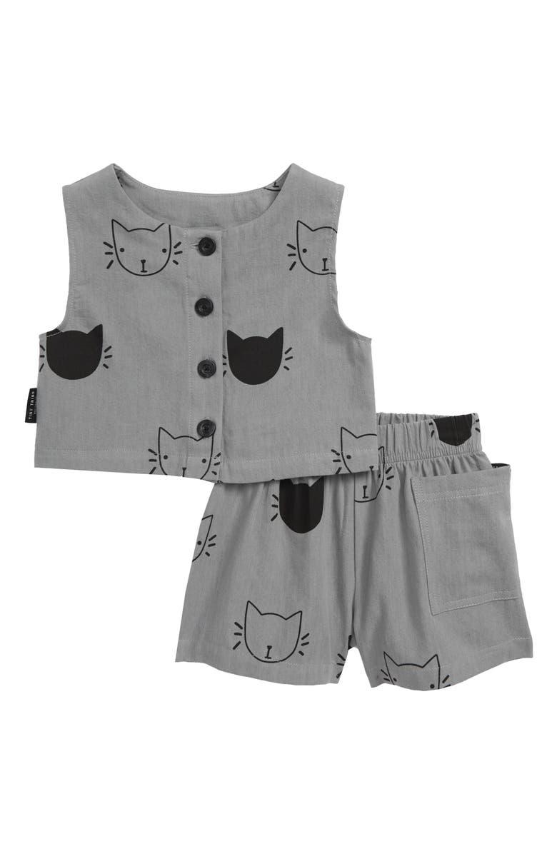 TINY TRIBE Starcat Top & Shorts Set, Main, color, CHARCOAL CHAMBRAY