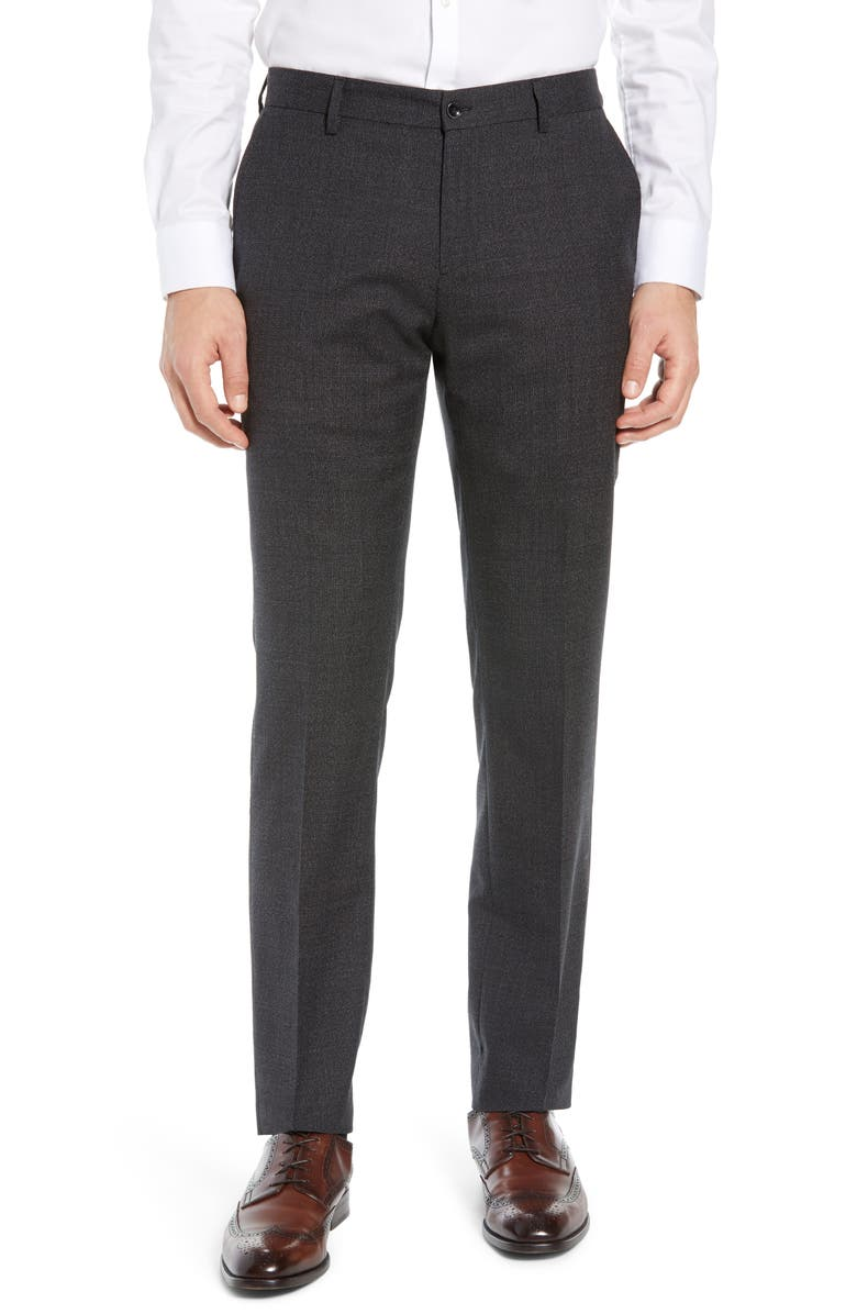 NORDSTROM SIGNATURE Flat Front Solid Wool Trousers, Main, color, 001