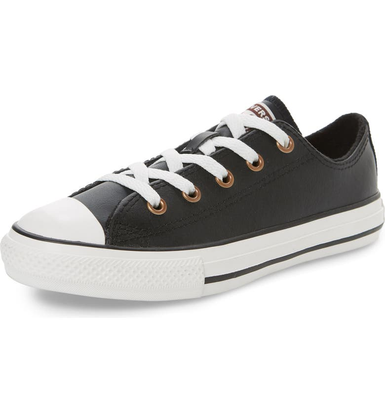 CONVERSE Chuck Taylor<sup>®</sup> All Star<sup>®</sup> Low Top Leather Sneaker, Main, color, BLACK