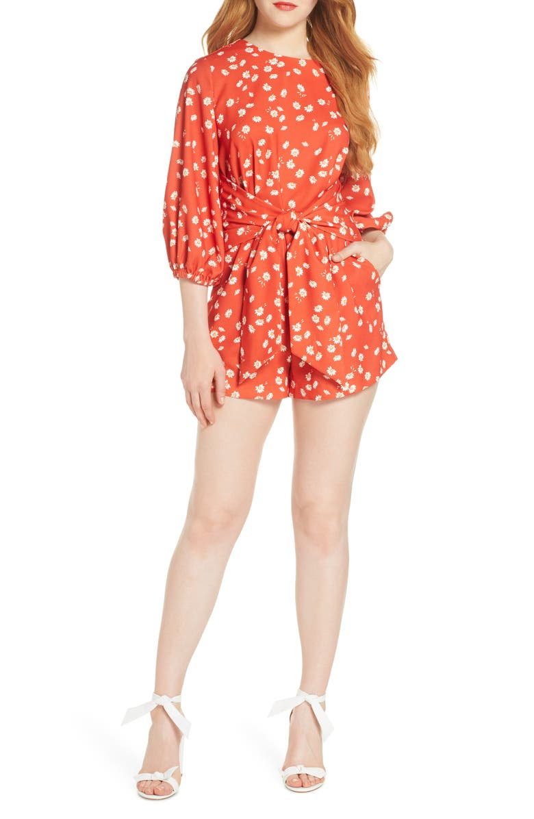 FINDERS KEEPERS Mae Tie Waist Romper, Main, color, RED DAISY