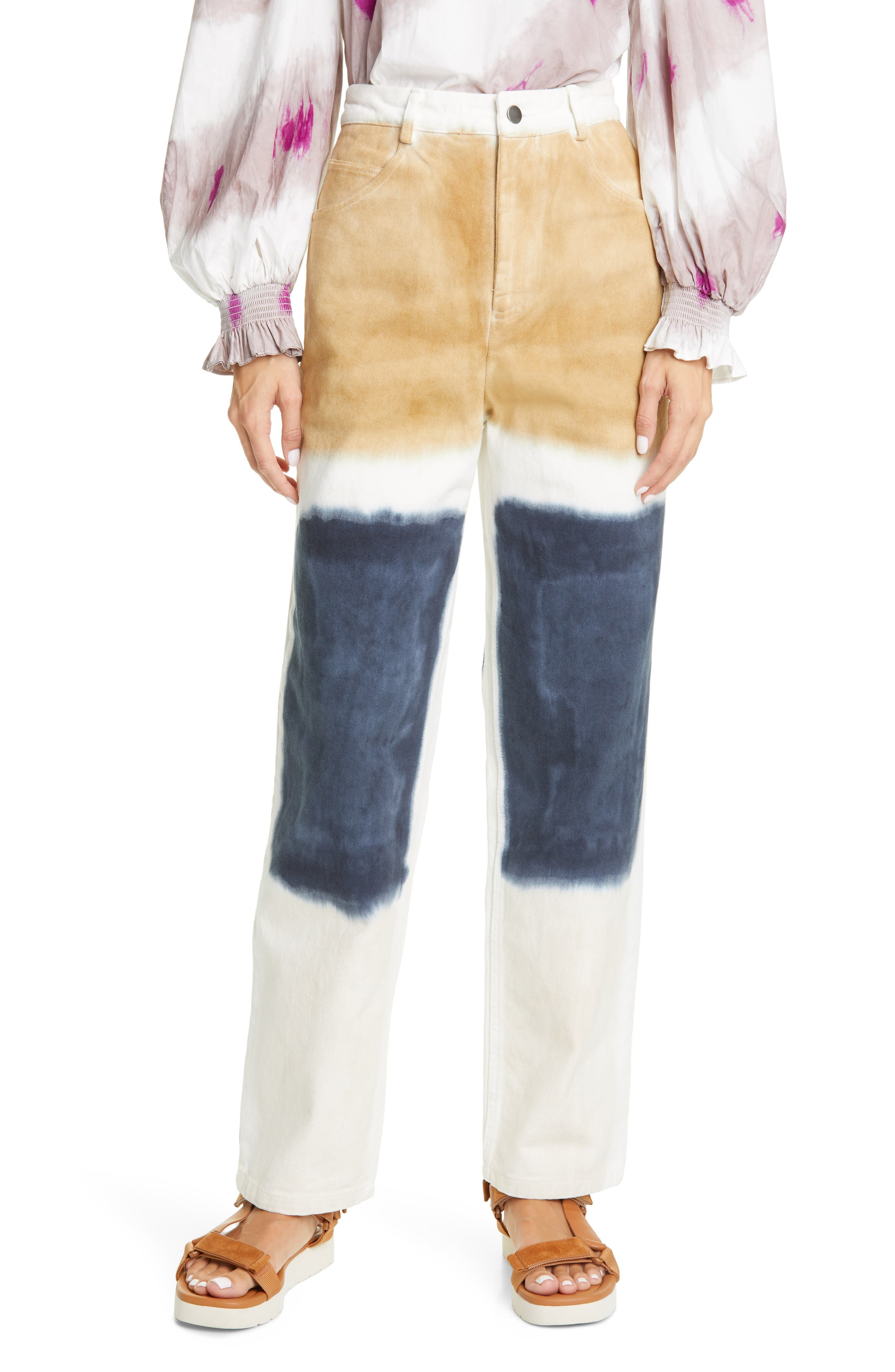 Sea Tandi Block Dye High Waist Straight Leg Twill Pants | Nordstrom