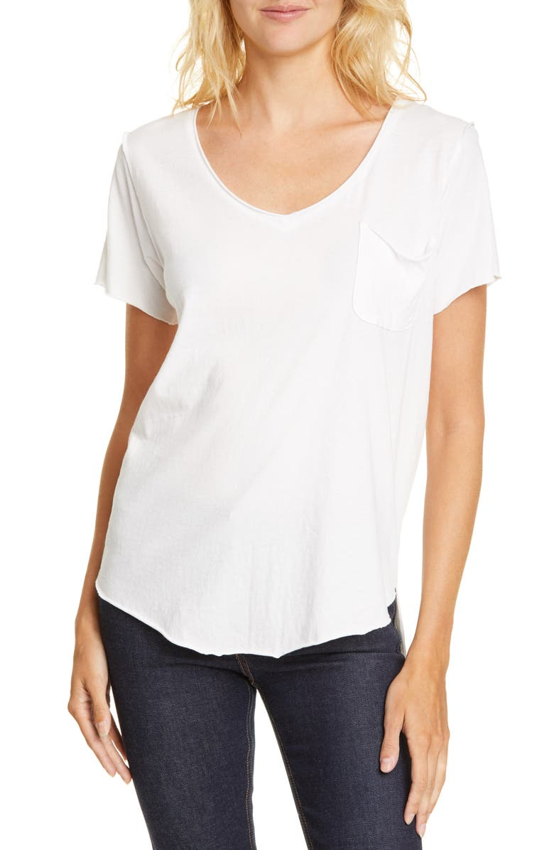 NSF CLOTHING Sura V-Neck Tee, Main, color, WHITE