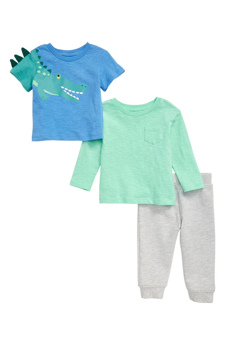 LITTLE ME Gator 3-Piece T-Shirts & Joggers Set, Main, color, GREY
