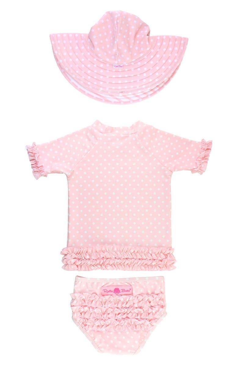 RUFFLEBUTTS Pink Polka Dot Two-Piece Rashguard Swimsuit & Hat Set, Main, color, PINK