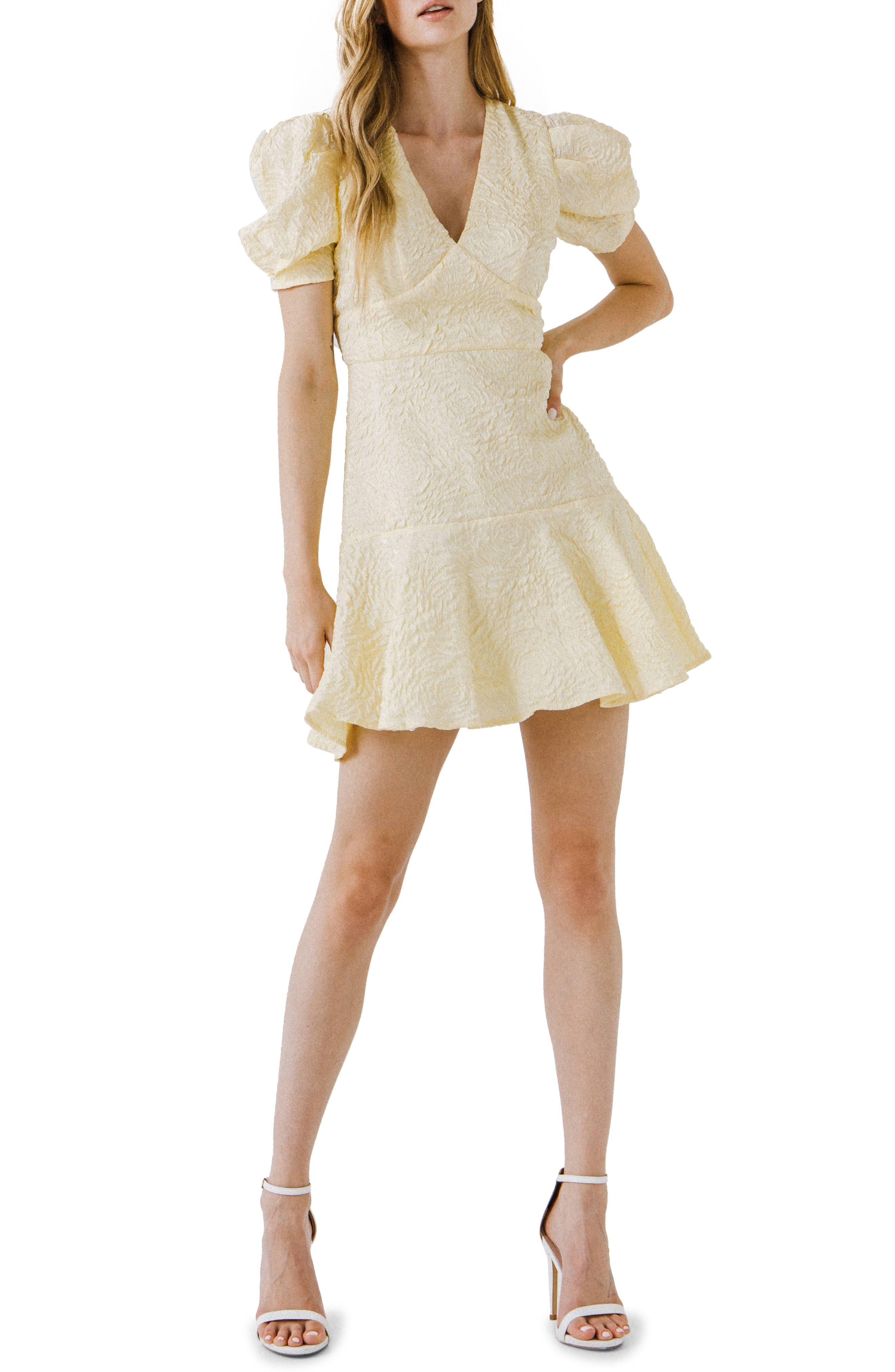 Texture Puff Sleeve Minidress