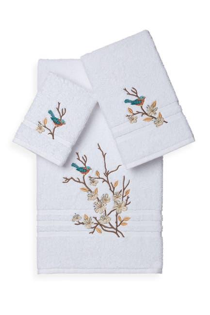 Image of LINUM TOWELS Spring Time 3-Piece Embellished Towel Set - White