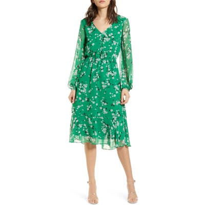 Cupcakes And Cashmere Rosalia Floral Print Long Sleeve Dress, Green