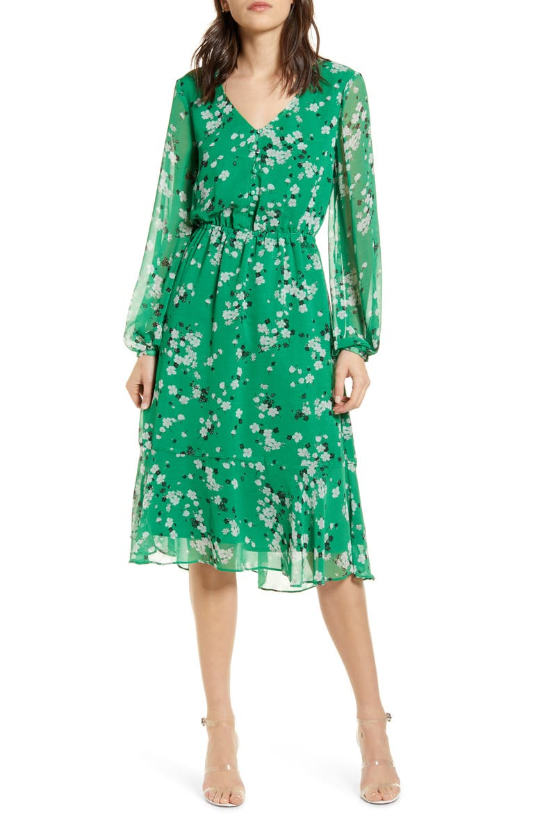 CUPCAKES AND CASHMERE Rosalia Floral Print Long Sleeve Dress, Main, color, SHAMROCK