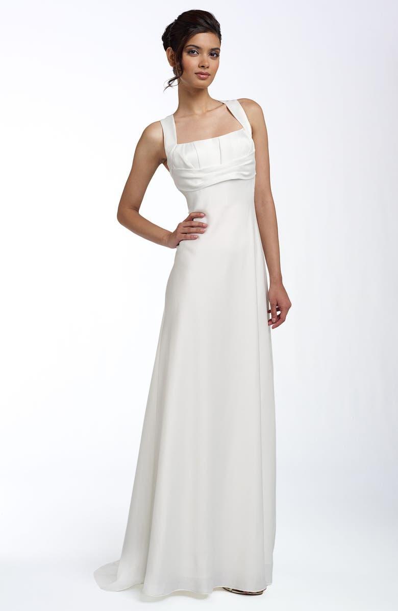 CALVIN KLEIN Empire Satin Gown, Main, color, 900