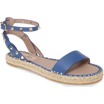 Valentino Garavani Rockstud Espadrille Sandal, Blue