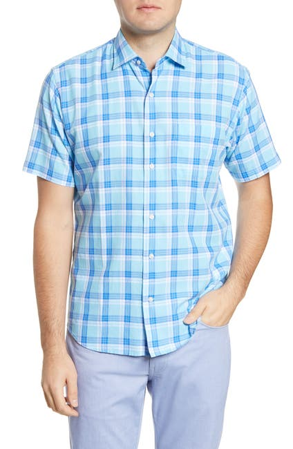 Image of Peter Millar La Roche Plaid Short Sleeve Regular Fit Shirt