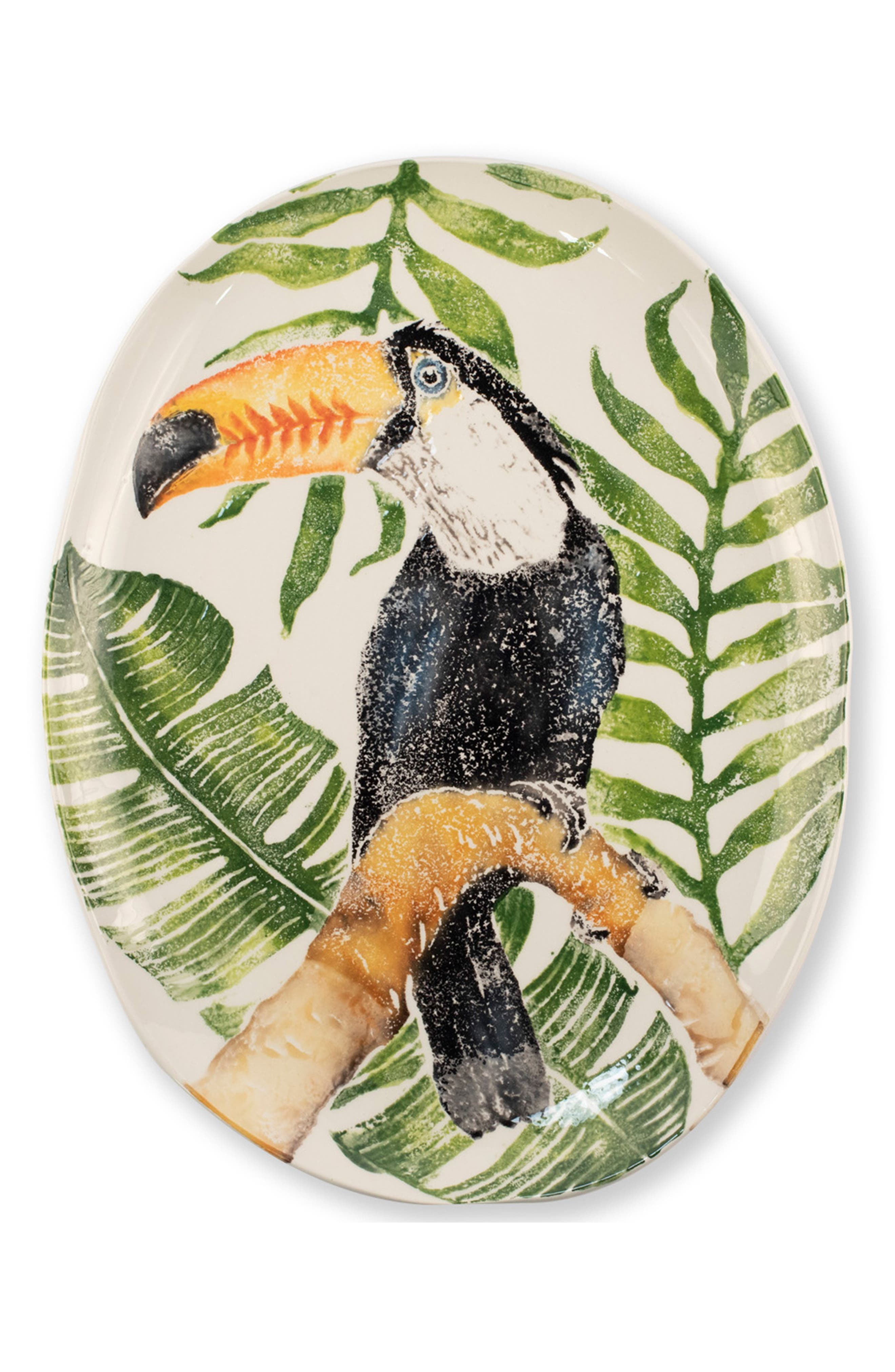 One of the tropic\\\'s most intriguing creatures makes a dramatic appearance at your table with this oval tray hand painted in Italy. Style Name: Vietri Into The Jungle Toucan Tray. Style Number: 5826406. Available in stores.