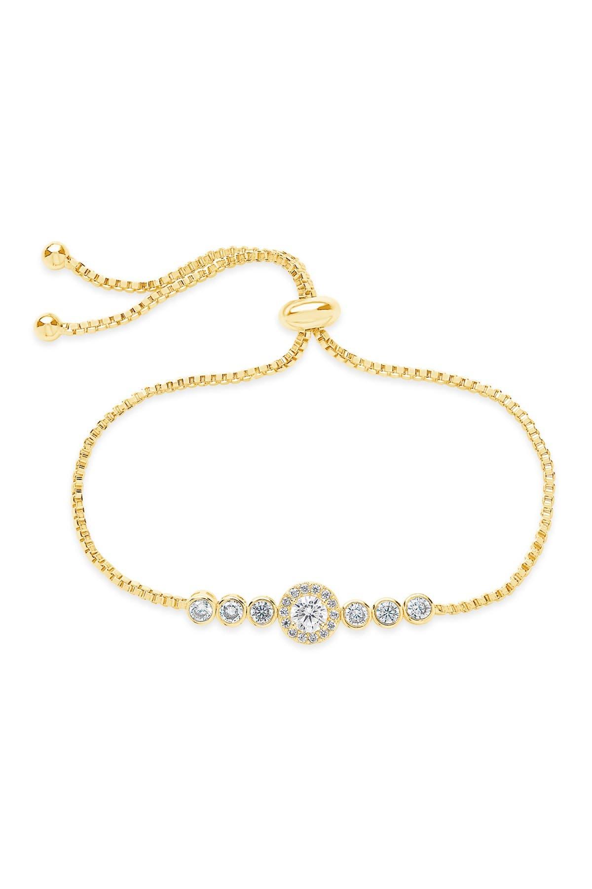Image of Sterling Forever 14K Gold Plated Brass CZ Circlet Bolo Bracelet