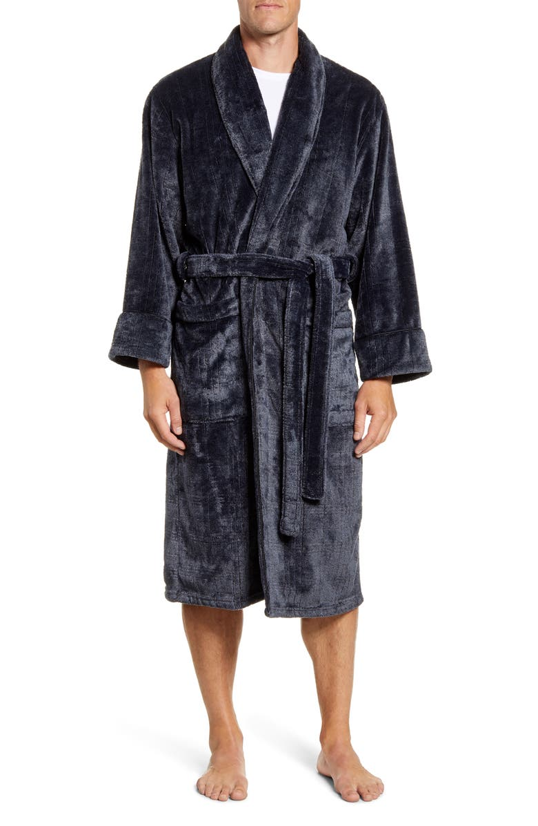 DANIEL BUCHLER Heather Jacquard Robe, Main, color, BLACK