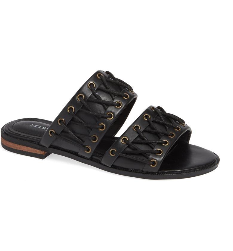 KELSI DAGGER BROOKLYN Rio Slide Sandal, Main, color, BLACK LEATHER