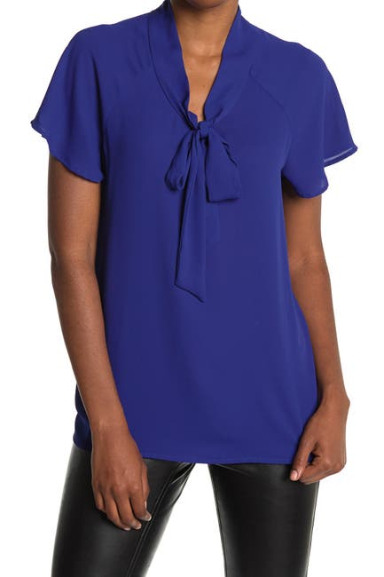 Image of Pleione Short Sleeve Tie Neck Blouse