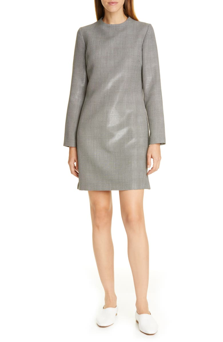 PARTOW Harlan Plaid Wool Blend Long Sleeve Minidress, Main, color, BLACK/ WHITE
