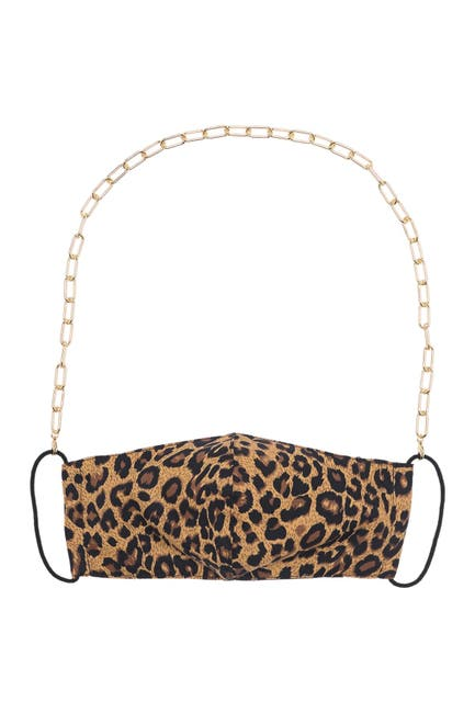 Image of Panacea Gold Chain Leopard Print Face Mask, Mask Chain, & Stud Earrings 3-Piece Set
