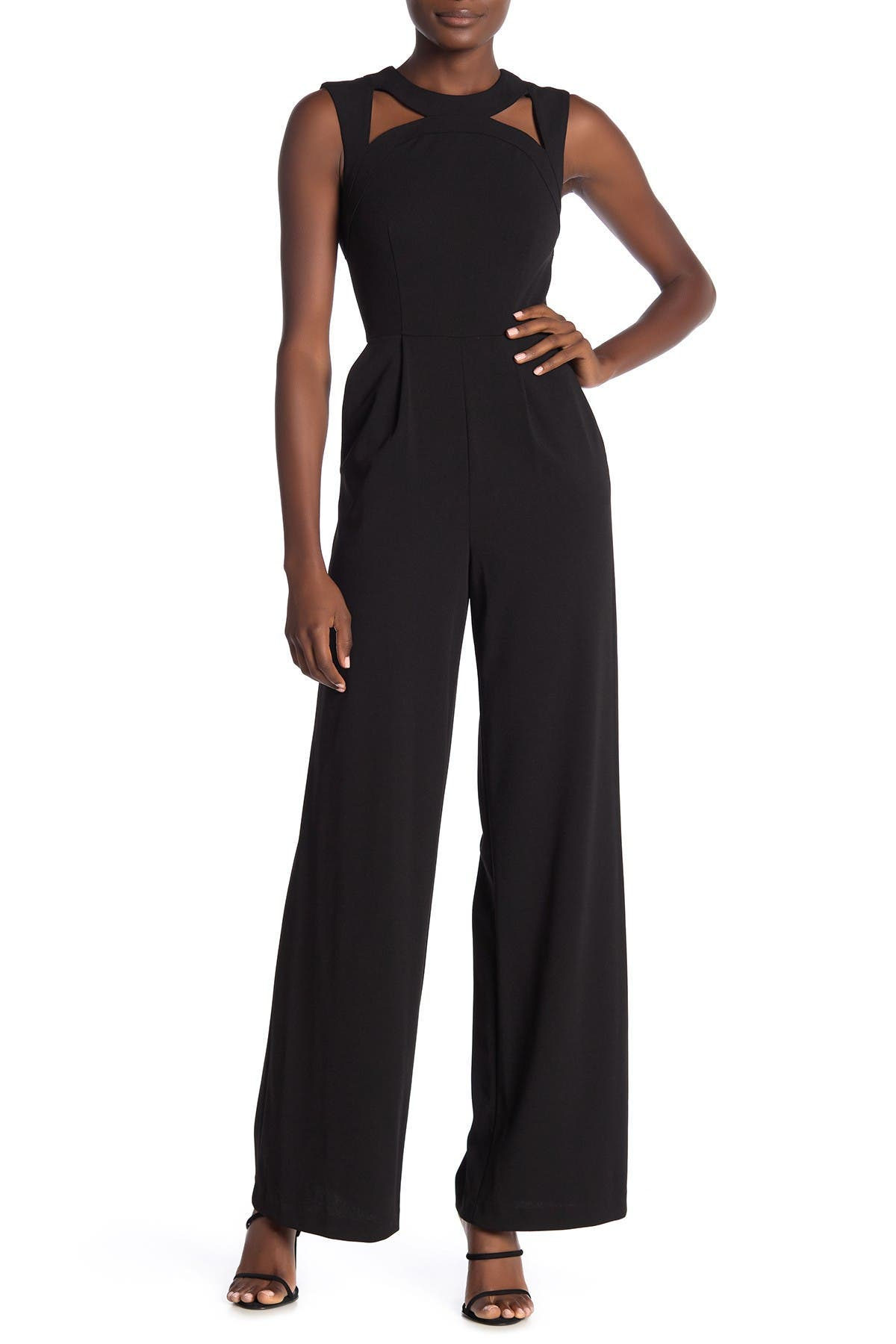 Image of Calvin Klein Cutout Sleeveless Crepe Jumpsuit