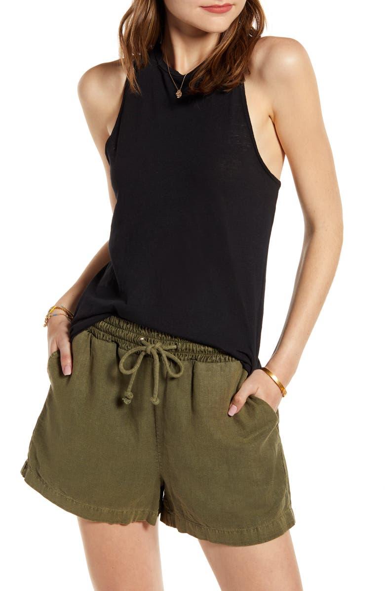 TREASURE & BOND Raw Hem Linen & Cotton Tank Top, Main, color, BLACK