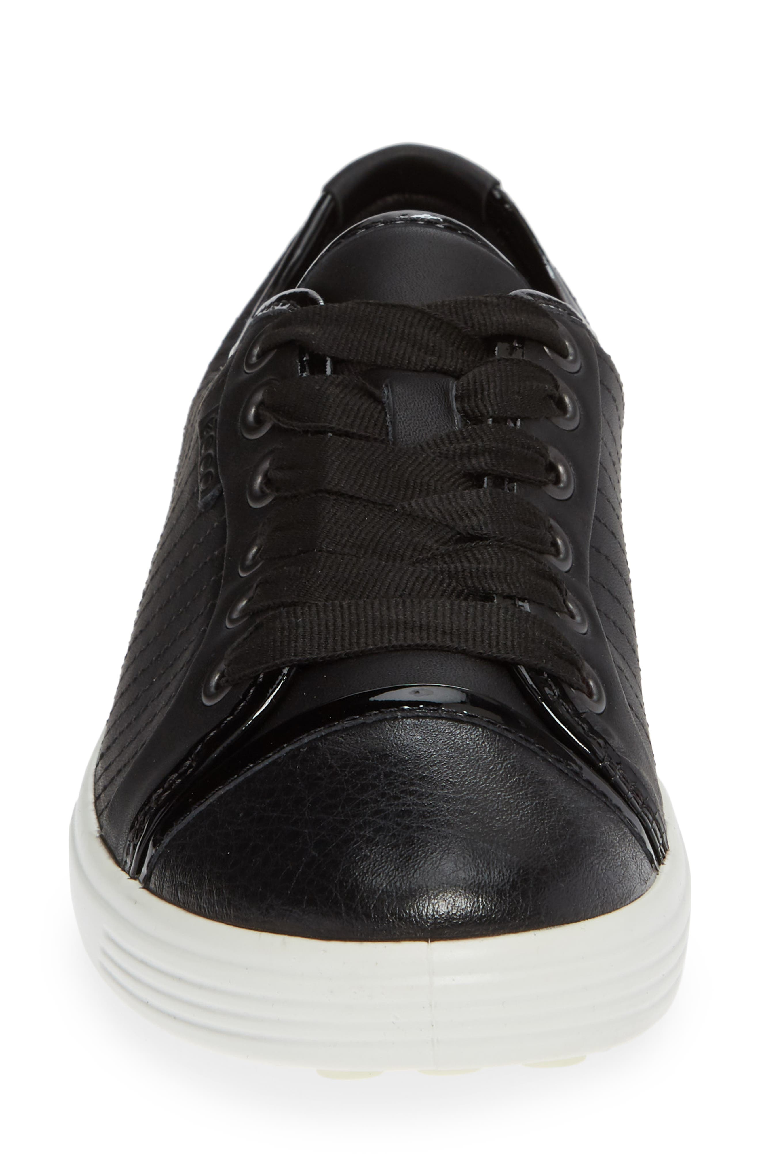 ,                             Soft 7 Cap Toe Sneaker,                             Alternate thumbnail 4, color,                             BLACK LEATHER