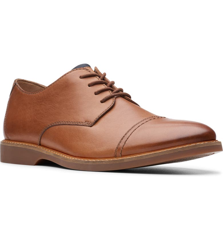 CLARKS<SUP>®</SUP> Atticus Cap Toe Oxford, Main, color, TAN LEATHER