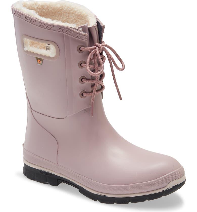BOGS Amanda Plush Waterproof Rain Boot, Main, color, LILAC