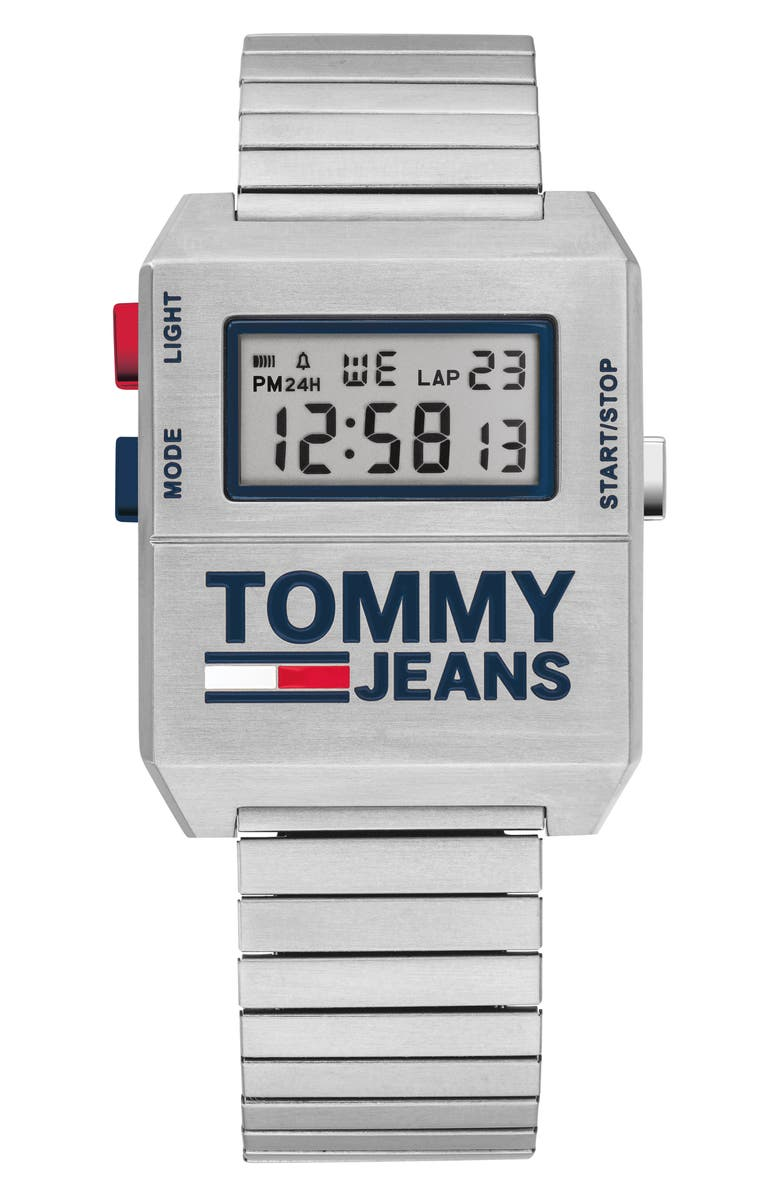 TOMMY JEANS Digital Bracelet Watch, 32.5mm x 42mm, Main, color, SILVER/ BLUE