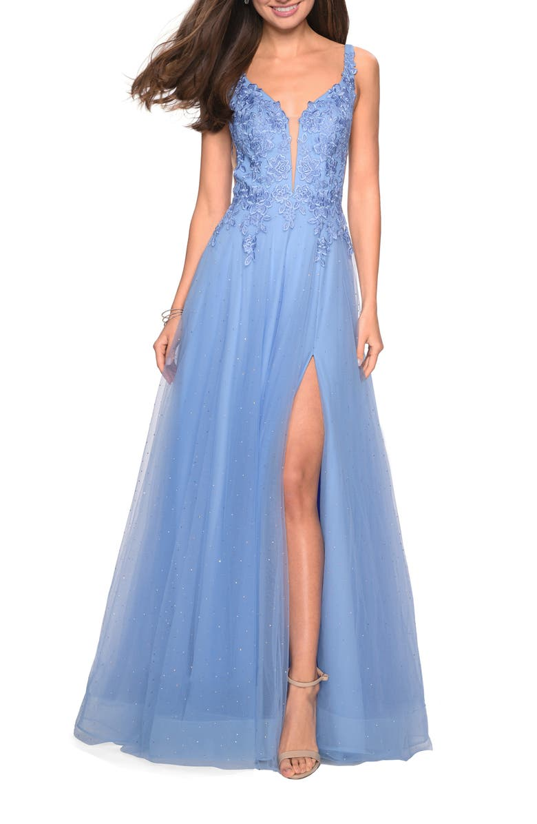 LA FEMME High Slit Tulle Evening Dress, Main, color, CLOUD BLUE
