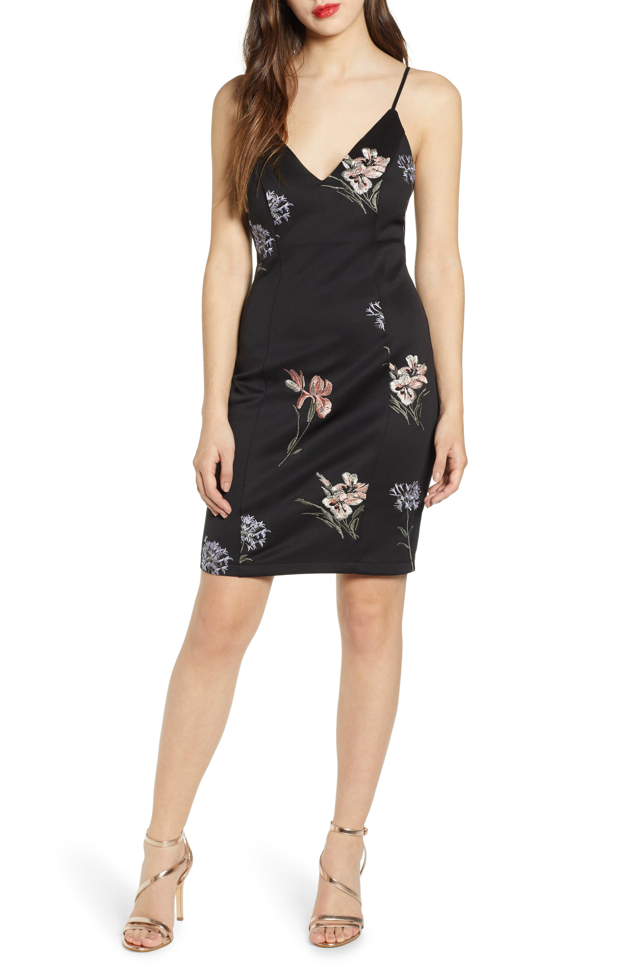 Love, Nickie Lew Embroidered Flowers Body-Con Slipdress, Black