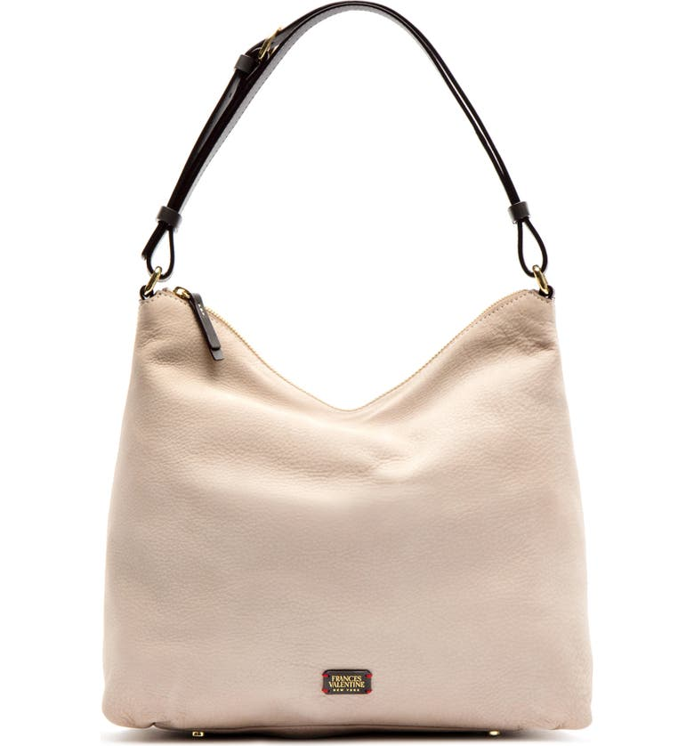 FRANCES VALENTINE Leather Tote, Main, color, SAND/ CHOCOLATE
