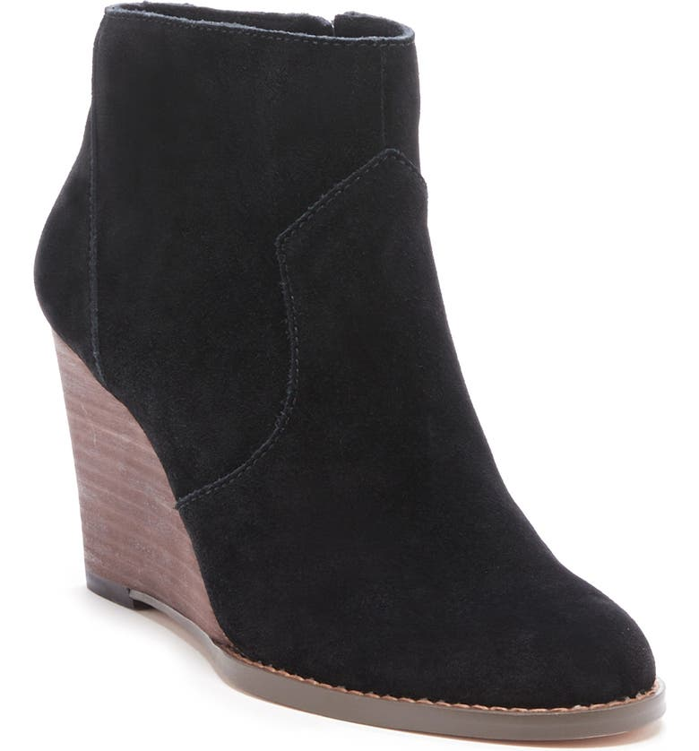 SOLE SOCIETY Patsy Wedge Bootie, Main, color, BLACK SUEDE