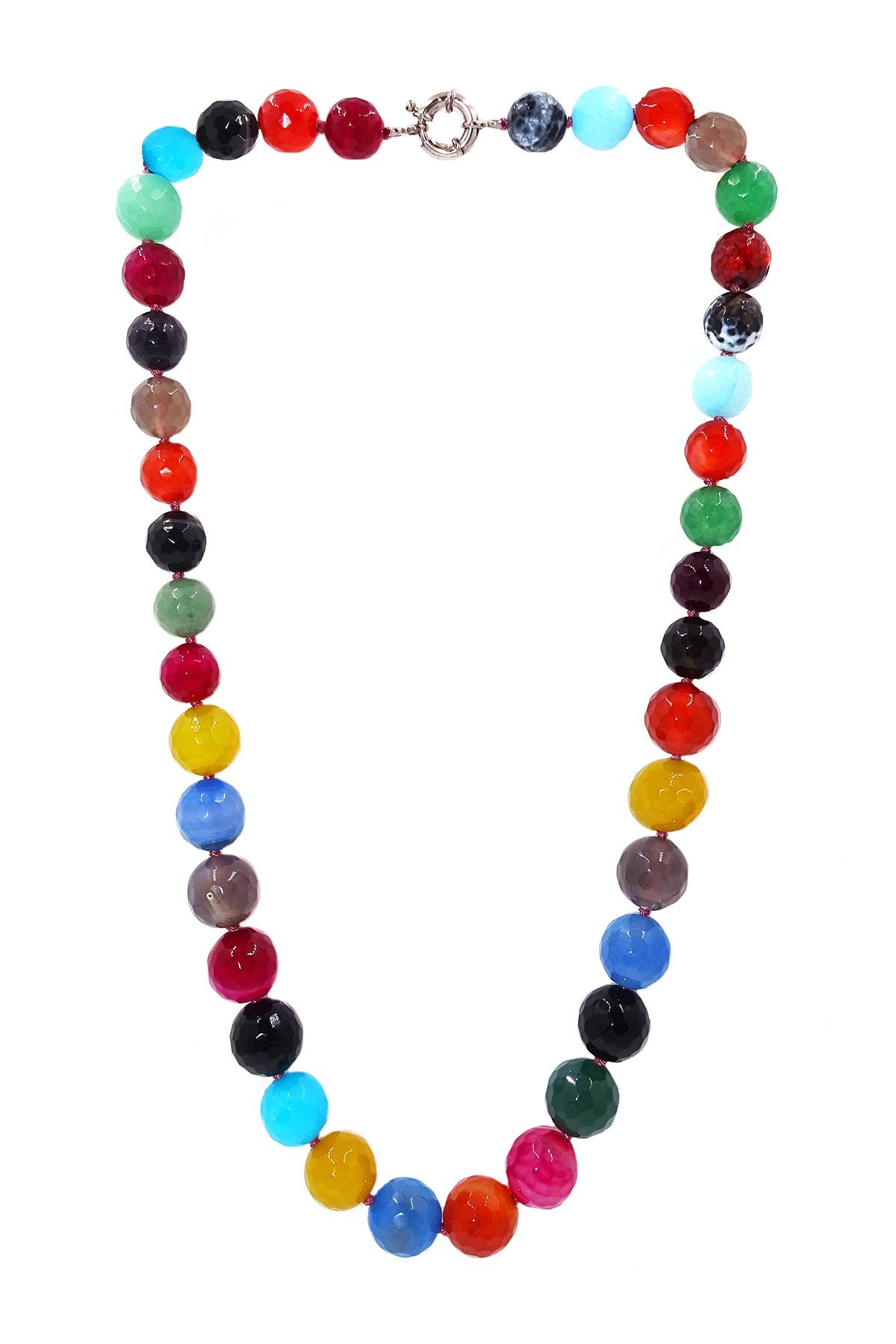 Image of Savvy Cie Graduated Multi-Color Agate Bead Necklace